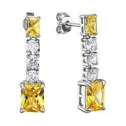 Серебряные серьги-подвески с желтыми и белыми фианитами 000137737