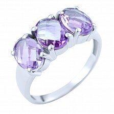 Серебряное кольцо Виджая с аметистами