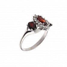 Серебряное кольцо Фресси с цветочком, гранатами и белыми фианитами