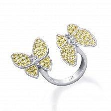 Серебряное кольцо Бабочки с желтыми и белыми фианитами