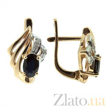 Золотые серьги с бриллиантами и сапфирами Лестер ZMX--BLS-1042_K