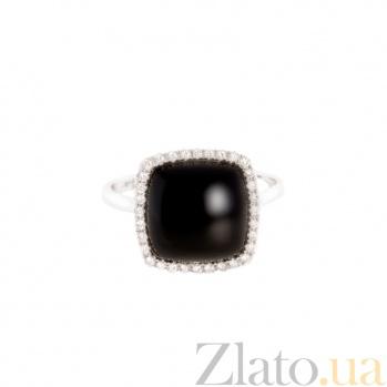 Золотое кольцо с ониксом и бриллиантами Королева ночи 1К809-0070