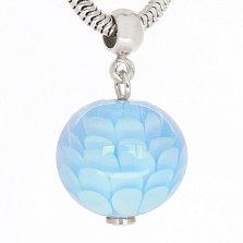 Серебряная подвеска Голубой пион со сферой из муранского стекла