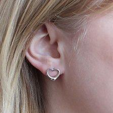 Серебряные пуссеты Лирика в форме сердца с бриллиантами