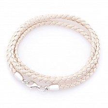 Шелковый розовый шнурок Жизнь с серебряной застежкой