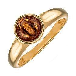 Серебряное позолоченное кольцо с янтарем 000137638