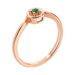 Кольцо из красного золота с изумрудом 000138653