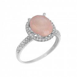 Серебряное кольцо с розовым халцедоном и фианитами 000093656