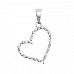 Золотой кулон Воздушное сердце в белом цвете с бриллиантами