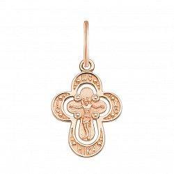 Закругленный крестик Вера в красном золоте 000126485