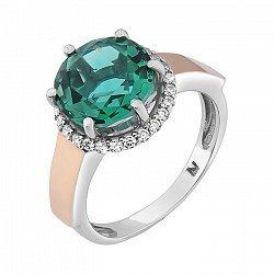 Серебряное кольцо Иолина со вставкой золота и зеленым кварцем 000051736