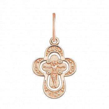 Закруглений хрестик Віра в червоному золоті 000126485