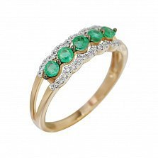 Золотое кольцо с изумрудами и бриллиантами Морские волны