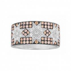 Кольцо из белого золота Звездная пыль с белыми и коньячными бриллиантами