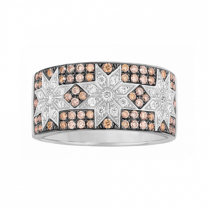 Кольцо из белого золота Звездная пыль с белыми и коньячными бриллиантами 000080866
