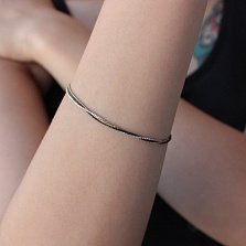 Тройной серебряный браслет Струны души с белым, желтым и черным родием
