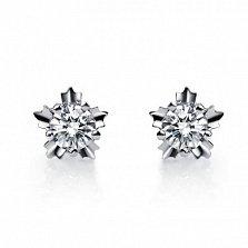 Золотые серьги-пуcсеты Нежные снежинки с бриллиантами