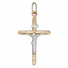 Золотой крестик Нательный оберег в комбинированном цвете