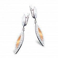 Серебряные серьги-подвески Вилана с золотыми накладками и фианитами