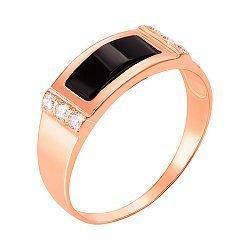 Перстень-печатка из красного золота с черным ониксом и фианитами 000104111