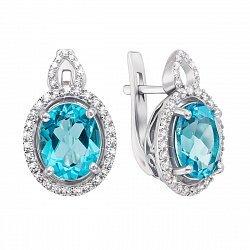 Серебряные серьги с кварцем под голубой топаз и фианитами 000136146