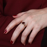 Кольцо в красном золоте Жаклин с гранатом и фианитами