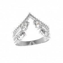 Серебряное кольцо Галатея с фианитами
