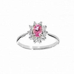 Серебряное кольцо с розовым топазом и фианитами 000098939