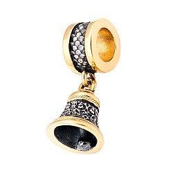 Серебряный шарм Колокольчик с позолотой и чернением 000060481