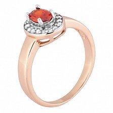 Позолоченное серебряное кольцо с красным фианитом Эсперанса