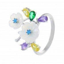 Кольцо серебряное Нежные лепестки с разноцветными фианитами и перламутром