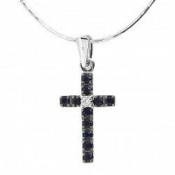 Серебряный крестик с сапфирами и бриллиантом 000019102