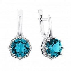 Серебряные серьги с голубым кварцем и фианитами 000134522