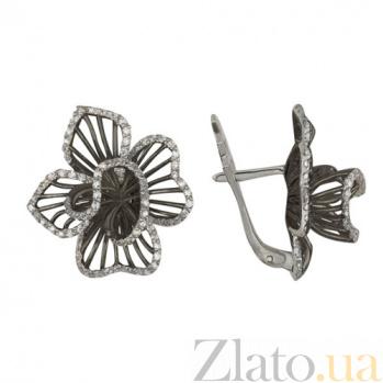 Серьги из белого золота с цирконием Осенняя хризантема VLT--ТТ2209