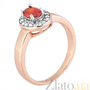 Позолоченное серебряное кольцо с красным фианитом Эсперанса 000028203