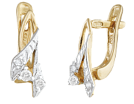 Позолоченные сережки из серебра с фианитами Дина