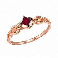 Золотое кольцо Магда в красном цвете с ажурной шинкой, рубином и бриллиантами