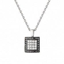 Золотой подвес Черно-белый квадрат в белом цвете с бриллиантами