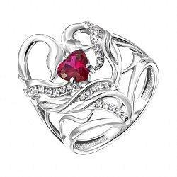Серебряное кольцо с красным и белыми фианитами 000137878