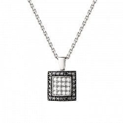 Золотой подвес Черно-белый квадрат в белом цвете с бриллиантами 000064806