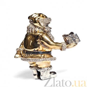 Статуэтка из серебра с позолотой  Веселый Санта 1239