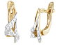 Позолоченные сережки из серебра с фианитами Дина SLX--С3Ф/046