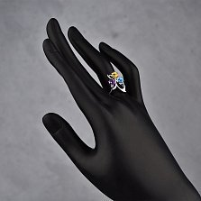 Серебряное кольцо Аркадия с аметистом, топазом и цитрином