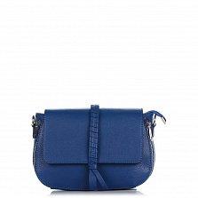 Кожаный клатч Genuine Leather 1521 синего цвета с декоративной косой на клапане