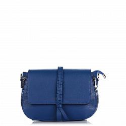 Кожаный клатч Genuine Leather 1521 синего цвета с декоративной косой на клапане 000092223