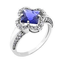 Серебряное родированное кольцо с синим альпинитом и белыми фианитами 000088816