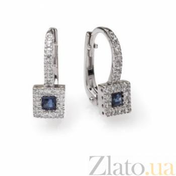 Серьги из белого золота с сапфирами и бриллиантами Арника 000030415