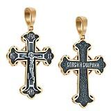 Крест из серебра Олицетворение веры с евро позолотой и чернением