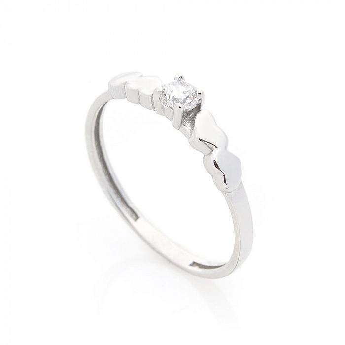 Золотое кольцо Оливия в белом цвете с сердечками на шинке и белым фианитом 000082415
