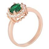 Позолоченное серебряное кольцо с зеленым цирконием Джаухар
